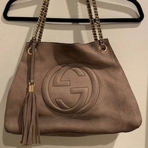 Gucci Convertable Grey Leather Bag